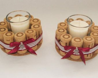 wijn kurk Kaarsenbakjes kaars-houders van ReclaimedOregon op Etsy