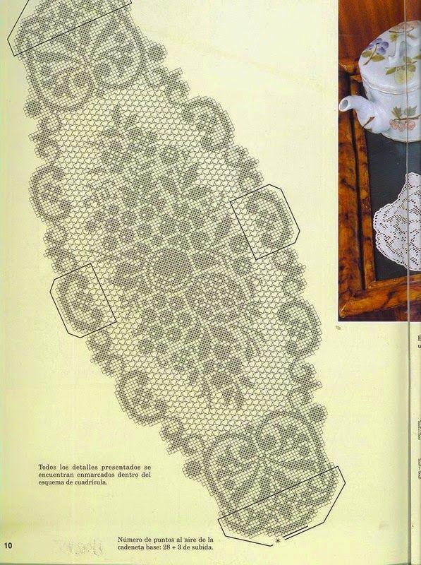 Hobby lavori femminili - ricamo - uncinetto - maglia: schema centri ovali e rettangolari uncinetto