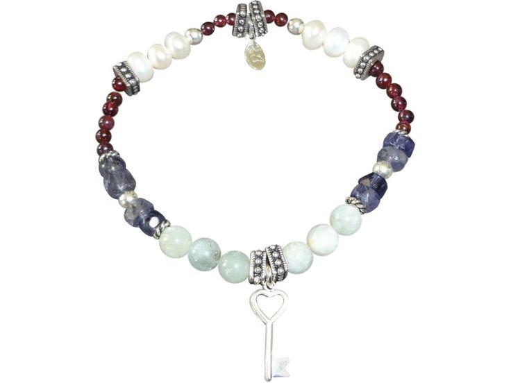 Sterling Silver Open Heart Love Key Bracelet (GL120-37)
