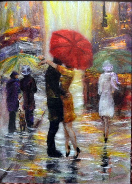 Картина из шерсти Встреча в Париже по сюжету Лоррейн Кристи