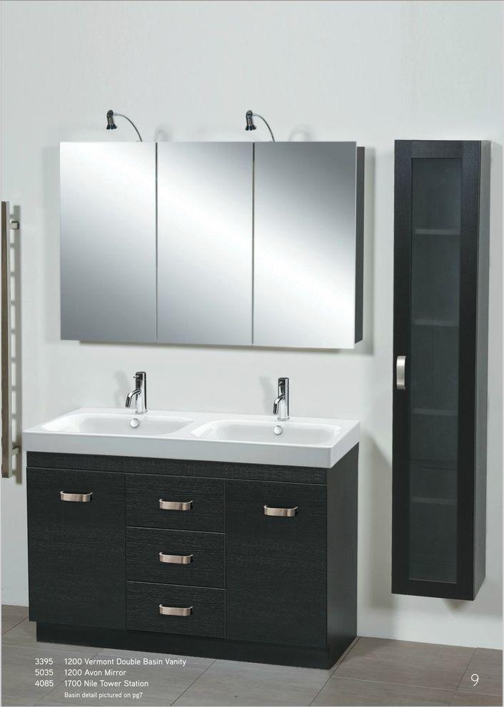 Newtech - 1200 Vermont Double Basin Vanity, Avon Mirror & Nile Tower Station