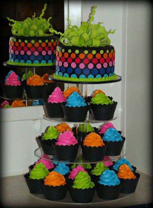Neon cake with cupcakes More