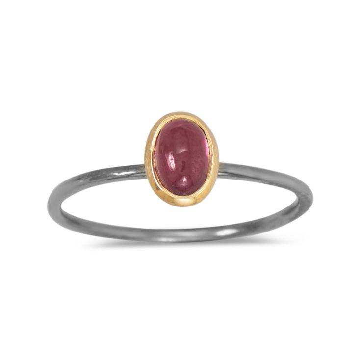 Two Tone Rhodolite Garnet Ring