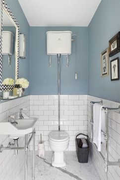 nice paint job with the subway tiles, and no border, it works! http://www.houzz.com/photos/bath/size--compact/p/56