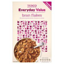 Bran flakes - cereal for under £1 for the family, I always buy supermarket value range (I genuinely can not tell the difference between these and the more expensive versions) add oats, currents and sometimes nuts or sunflower seeds to make my own muesli.