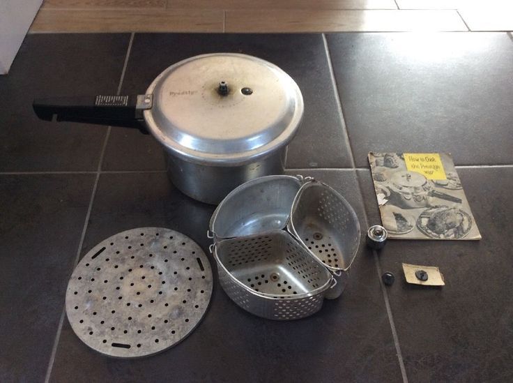 Vintage Prestige pressure cooker from late 60s / early 70s. Full working order, complete with trivet, baskets, weights, spare valve and instructions (some pages quite badly marked) | eBay!