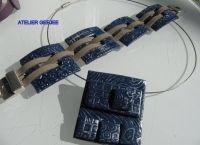 set , hanger van polymeerklei, donkerblauw aan spang en bijpassende armband