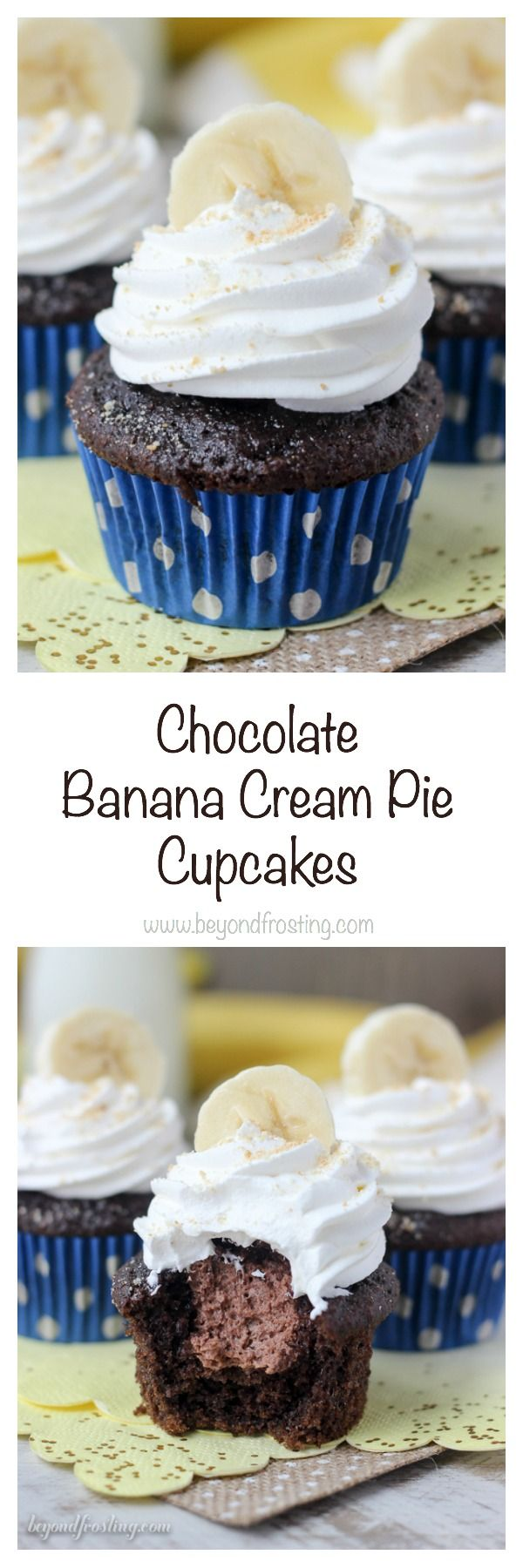 These chocolate banana cream pie cupcakes are made with a chocolate banana cupcake and filled with a chocolate mousse. Top them off with some whipped cream, bananas and Nilla Wafers.
