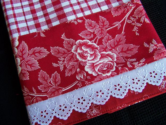 Tea towel for the red and white kitchen. fancy lace trim.