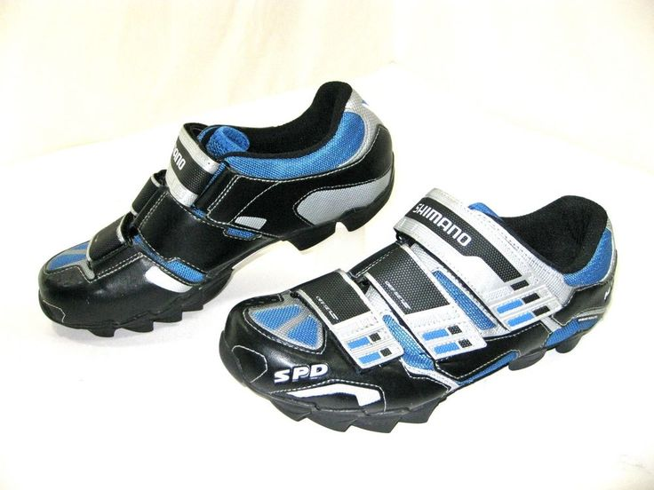 SHIMANO M122 SPD Mens Mountain Road Bike Shoes Cycle Blue Silver EUR 40 EUC WOW! #Shimano #Bicycling