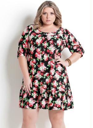 Vestido com Babado na Barra Floral Plus Size - Posthaus