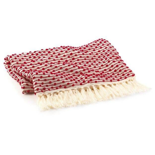 Holiday Decorative Throw Blanket Red With Cream Fringe