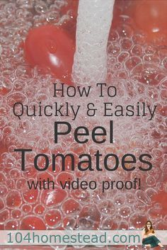 Canning tomatoes can be very rewarding, but it can also be very tedious and time consuming. The hardest part, in my opinion, is peeling all those tomatoes. Here's an easy way to peel with video tutorial, plus, recipes for your peeled tomatoes.
