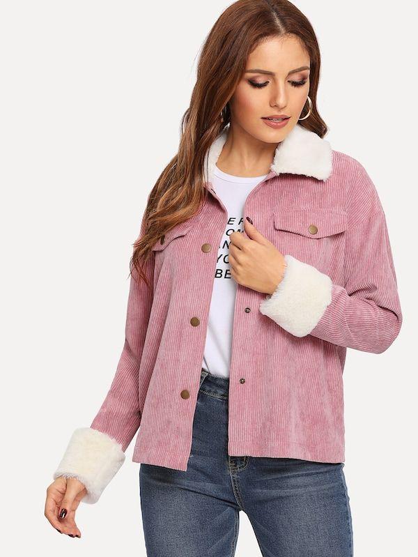 Куртка с заниженной линией плеч и с искусственным мехом   Красивая ... baa79781f48