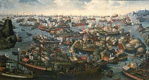 [Oct. 7, 1571]  The victory of the Holy League prevented the Ottoman Empire expanding further along the European side of the Mediterranean. Lepanto was the last major naval battle in the Mediterranean fought entirely between galleys and has been assigned great symbolic importance by Catholic and other historians. Some historians argue that Turkish victory could have led to Western Europe being overrun