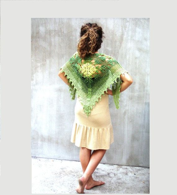 Fashion Lace Hand crocheted triangular shawl Custom by HEraMade, $110.00