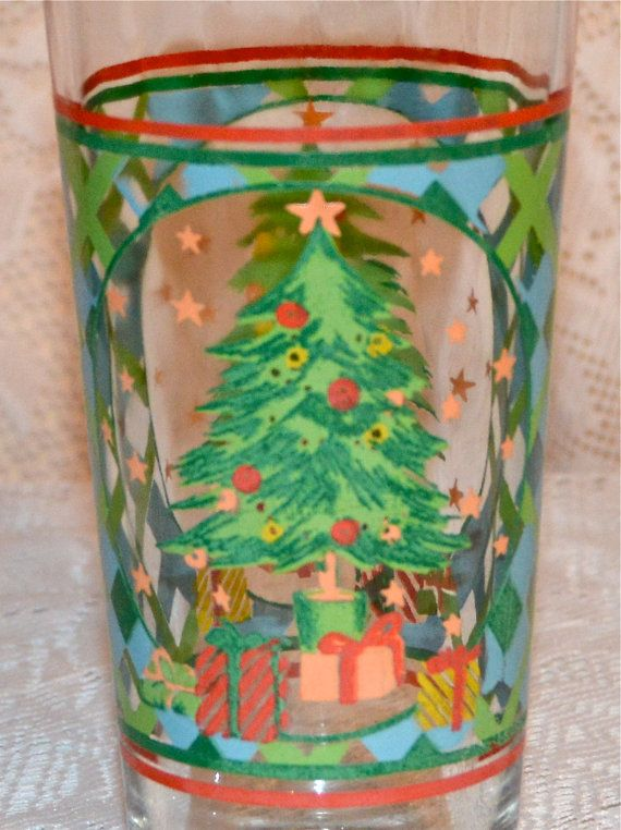 Christmas Drinking Glass Kig Indonesia Holiday by WVpickin on Etsy