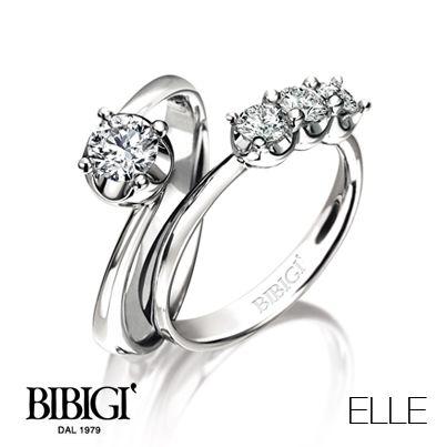 #Bibigi | Collezione #Elle | Anelli trilogy e solitario in oro bianco e diamanti.