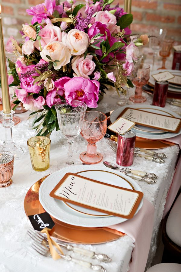 Pink Peony Filled Tabletop by Christine Janda Design + Events