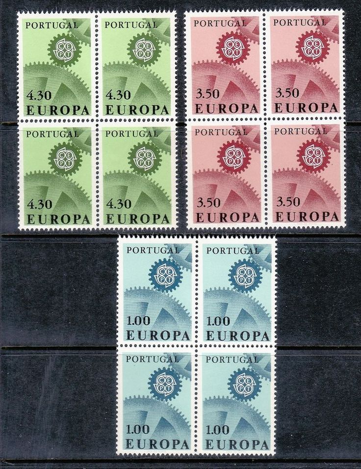 PORTUGAL 1967 SCOTT# 994 995 996 EUROPA CEPT BLOCK OF 4 STAMPS, MNH