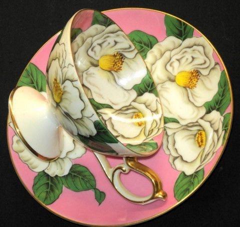 Occupied JAPAN WILD ROSE Roses Pedestal  Tea cup and saucer