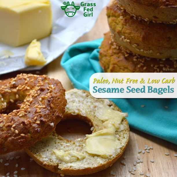 Free Paleo recipe for low carb breakfast bagels with sesame seeds (Paleo and nut free) is posted on our blog, Grass Fed Girl.