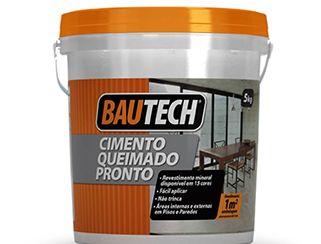 CIMENTO QUEIMADO BAUTECH é uma argamassa para revestir pisos de concreto e paredes de alvenaria com acabamento semelhante ao CIMENTO QUEIMADO.