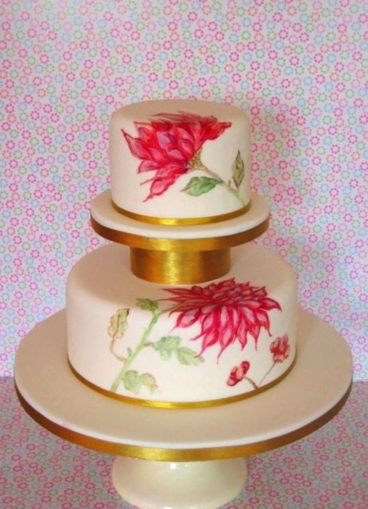 4 1248559987 Hand Painted Chrysanthemum Wedding Cake Gumpaste