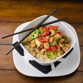 Cashew chicken from my new favorite website www.cookingbymoonlight.com. It is definitely a bit on the sweeter side.