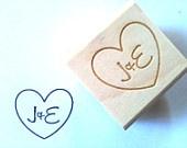Custom Stamp. Heart with Initials. DIY Wedding Decoration. Wedding Invite. Wedding Favors. 1x1