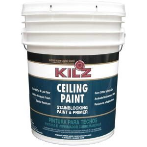 $100 -- 5 gal The KILZ Stain Blocking 5-Gallon Flat Ceiling Paint and Primer is suitable for application on smooth and textured interior ceilings to help hide stains. {Paint on both sides of the stain} The water-based formula reduces spatter. The stain blocking formula can cover light- to medium stains and the flat sheen provides an elegant look.  •Latex formula offers low odor and easy cleaning for convenient use  • ~1,500 sq. ft. for complete coverage