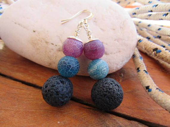 Agate and Lava Silver Plated Gemstone Earrings by RubiesAndBees