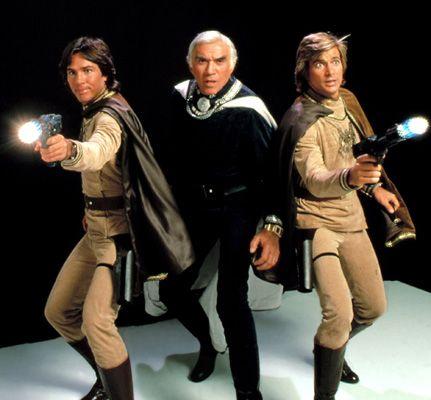 Battlestar Galactica (Original) with Richard Hatch, Lorne Green and Dirk Benedict.  That's right, Starbuck's a MAN.  New/Remake series SUCKS.