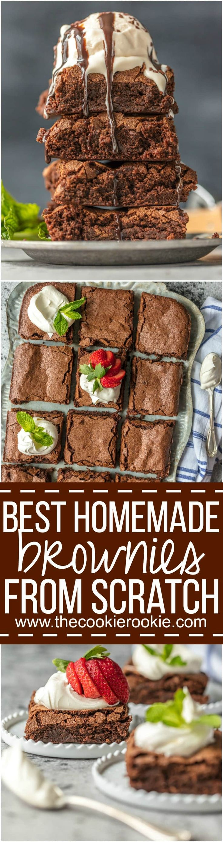 These BEST HOMEMADE BROWNIES FROM SCRATCH will be your favorite brownie recipe EVER! Super dense, moist, rich, and perfect! via @beckygallhardin