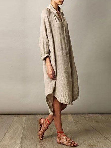 db84d9f69b Buy Summer Dresses For Women at JustFashionNow. Online Shopping JustFashionNow  Plus Size Stand Collar Khaki Women Summer Dress High Low Daily Dress Half  ...