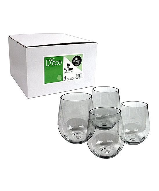 SCS Direct Unbreakable Wine Glass - Set of Four | zulily  $19.99 $35.00    Cheers! This set of four unbreakable wine glasses is perfect for crisp wines, sangria and more. Their lovely curved design and long-lasting Tritan glass construction make them must-haves for any kitchen.         Includes four glasses     Tritan glass     Dishwasher-safe     Imported