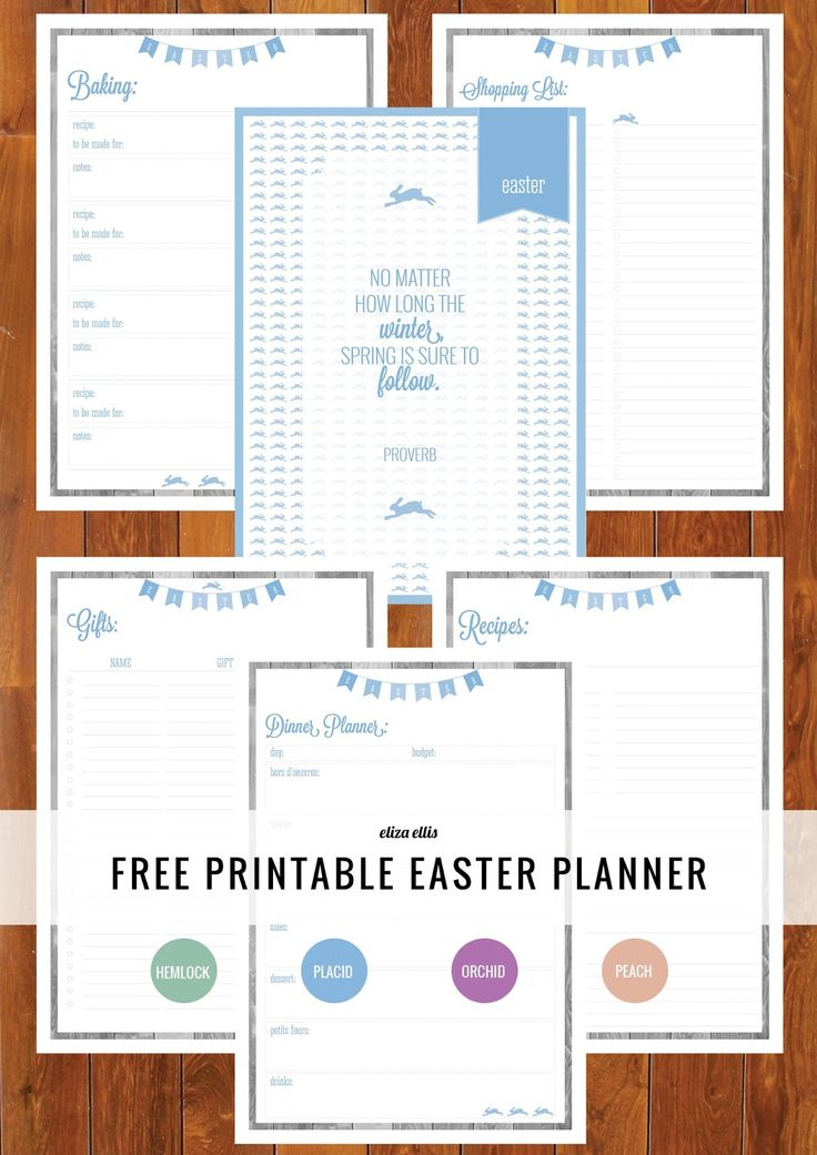 Free Printable Easter Planners with Baking, Recipes, Dinner Planner, To Do List, Gifts, Projects and more! By Eliza Ellis