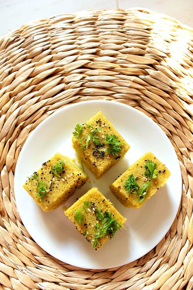 khaman dhokla: steamed savory cake made from chickpea flour, gluten free as well as vegan.