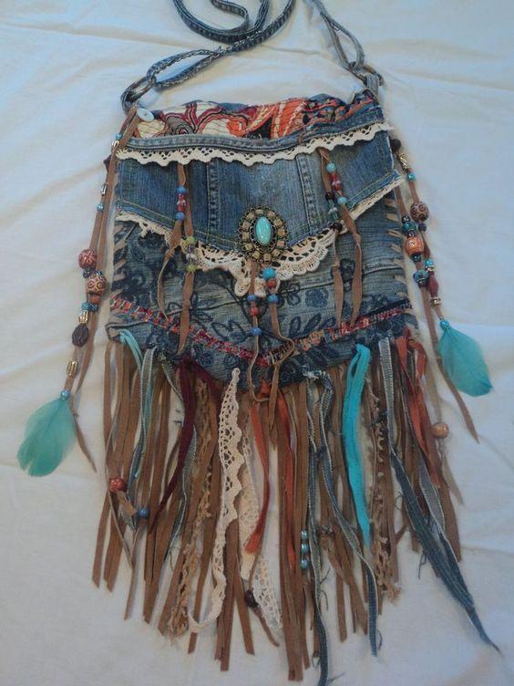 Handmade Denim Cross-body Bag Boho Hippie Purse Beaded Leather Fringe Lace
