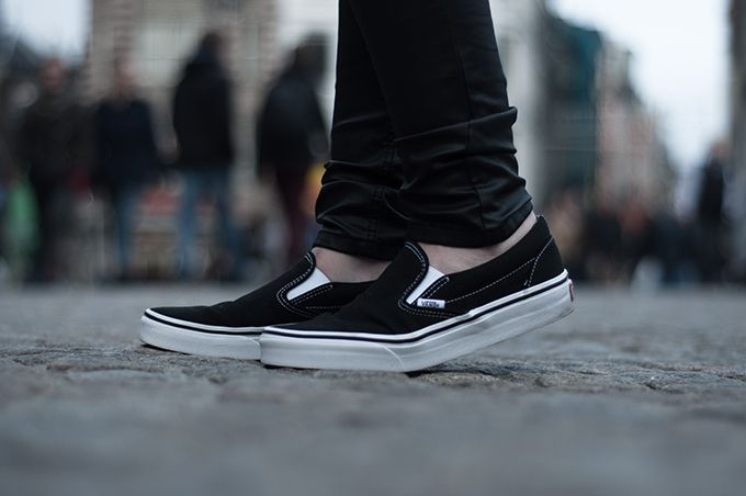 Vans Black Leather Fashion Sneakers Outfits Fashion Details