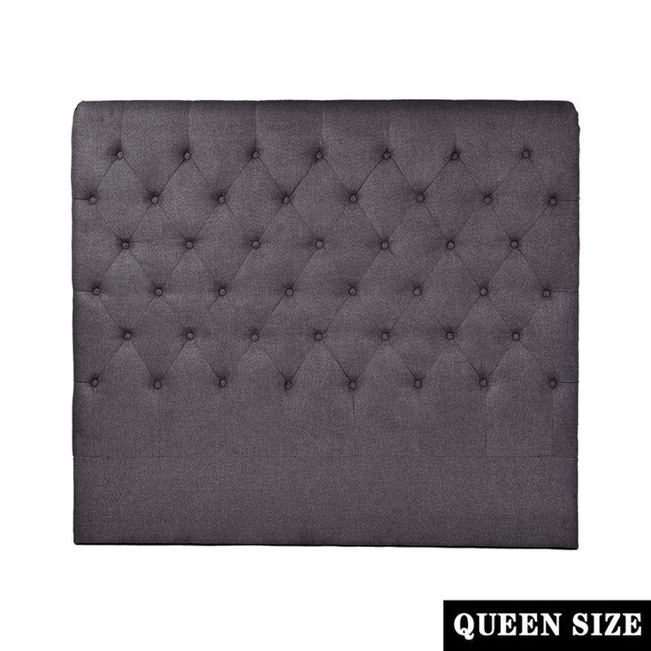 French Provincial Queen Fabric Headboard Charcoal | Buy Queen Size Headboard