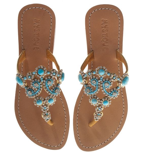 Mystique Crystal Turquoise Embroidered Leather Sandals