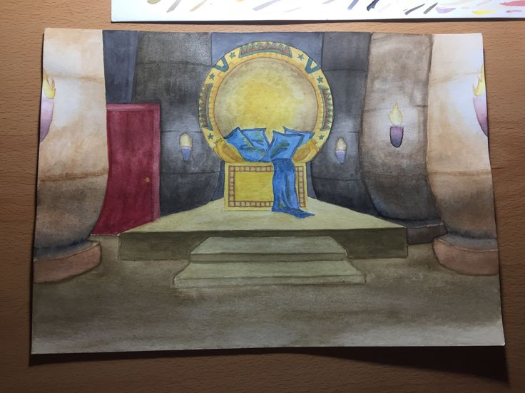 Watercolor scene for a group project #watercolor #egypt #pyramids #gold