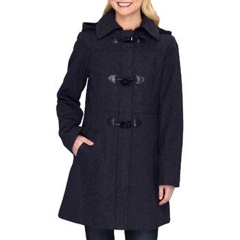Nautica Women's Navy Wool Blend Hooded Duffel Coat. SHOP IT NOW