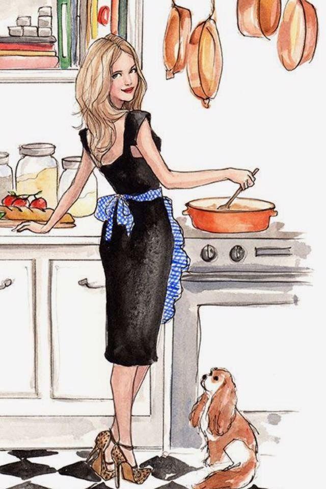 Открытки девушка на кухне