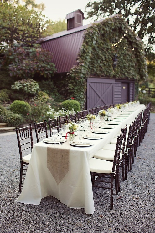Table Set Up Idea For A Barn Wedding Reception At