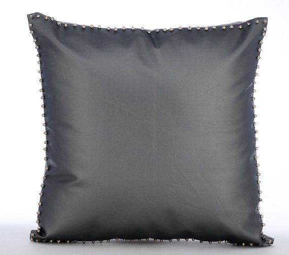 Silent Night - Rivets Embroidered Grey Leather Throw Pillow.