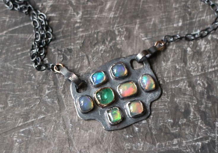 Купить LONGPLAY мини-колье (берилл, опалы, серебро, золото) - кулон татоша, авторский кулон
