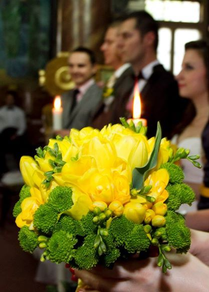 Green/yellow bridal bouquet- made by Irina's Flower House