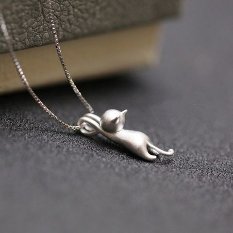 925 Sterling Silver Climbing Cat Necklace - Owl J - 4